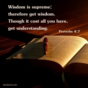 Wisdom is supreme; therefore get wisdom. Though it cost all you have, get understanding. Proverbs 4:7